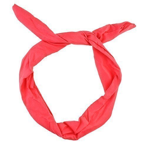 men Wire Stirnband Flexible Ohren Haar Mode Zubehör, Retro Party Look Pin up Bunny Ohren, Breite 4cm, Länge 80cm (1,5 x 31 Zoll) (Plain-Rot) (50er Jahre Pin Up Girls)