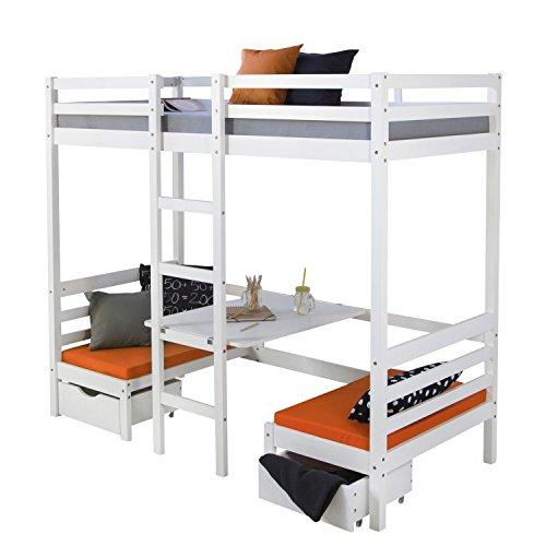 Homestyle4u 1726, Etagenbett 90x200 cm, Kinder Hochbett mit Schreibtisch Weiss, Holz Kiefer -