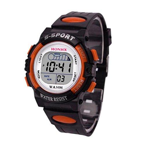 Wasserdichte Kinder Jungenuhr Digitale LED Sportuhr Kinder Alarm Date Watch Geschenk Herren Uhren LANSKIRT (❤️Orange) -