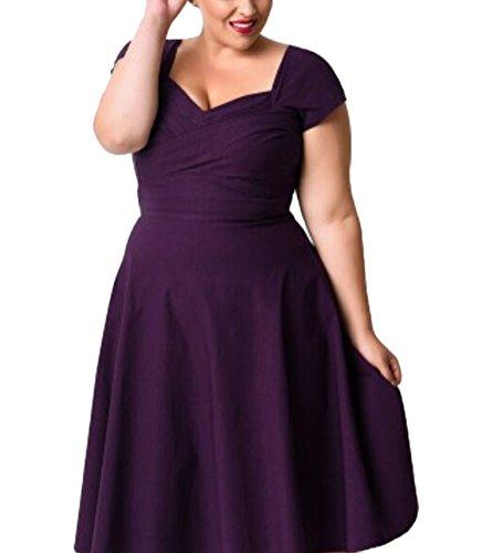 Brinny Damen festliche elegant Kleid 50er Plus Size Damen Knielang Retro V-Ausschnitt Höhe Taille Rockabilly Abendkleider Faltenrock Cocktailkleid Schwarz S - 3XL Lila