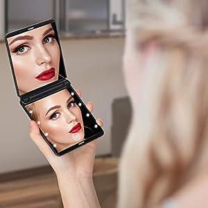 KINLO Tragbarer Taschenspiegel Zweiseitiger Schminkspiegel mit 8 dimmbare LED Beleuchtung 1X / 3X Vergrößerung Handspiegel - Kompaktspiegel Klappbarer Reisespiegel Beleuchtet - Schwarz