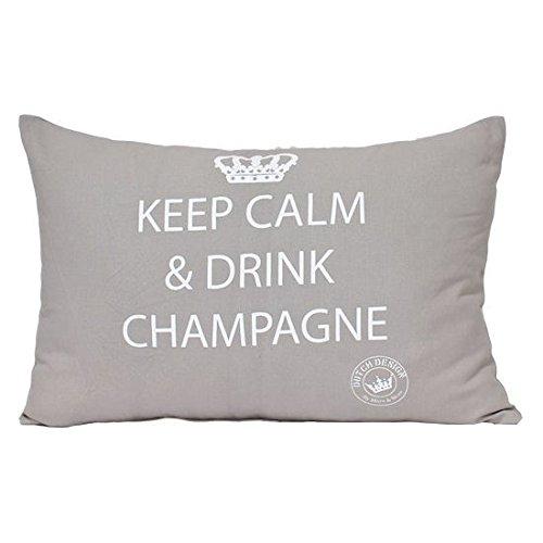 Mars & More - Kissen/Dekokissen -Keep calm & drink champagne - zement/grau -35x10x45cm -