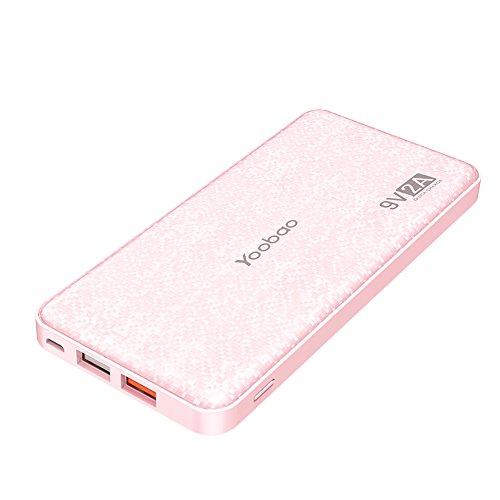 Powerbank Quick Charge 3.0, Yoobao 12000mAh Kompakt Externer Akku Pack Akkupack Power Bank Handy Ladegerät mit Dual USB Ausgänge für...