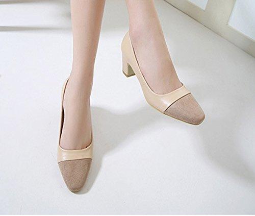 Damen Frühling Spleiß Geschlossen Pump Blockabsatz Anti-Rutschu Bequem Business Schuhe Aprikose