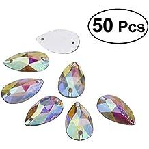 ULTNICE La forma de la lágrima de 50pcs 7 * 12m m cosen o pegamento en Rhinestone de la parte posterior plana de los cristales de la resina