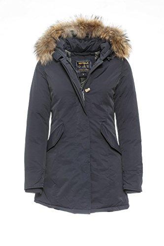 Basic.de Damen-Parka Echtfell Winter-Jacke Marine XS