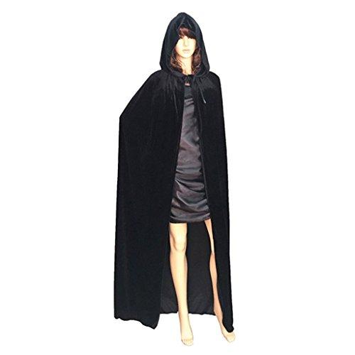 zhouba Halloween Umhang mit Kapuze Bodenlang Cape Party Hexe Bademantel Cosplay Kostüm für Erwachsene Frauen Herren, schwarz, M (Hexe Mit Cape Kostüm)