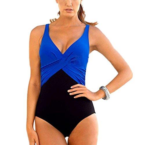 GWELL Frauen Vintage Elegant Plus Size Einteiler Push up V-schnitt Badeanzug Schwimmanzug Mehrfärbig Bademode blau 3XL