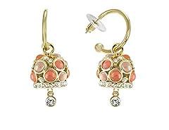 Idea Regalo - Inscintille Campane Orecchini dorati con campanella e pietre arancioni