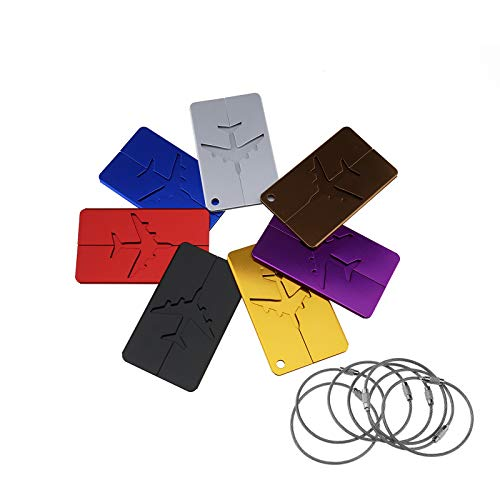 Creative-Idea 7 x Gepäckanhänger aus Aluminium, Mehrfarbig, Koffer, Namensetiketten, Namensschilder, Adresse, Rucksack, Flugzeug