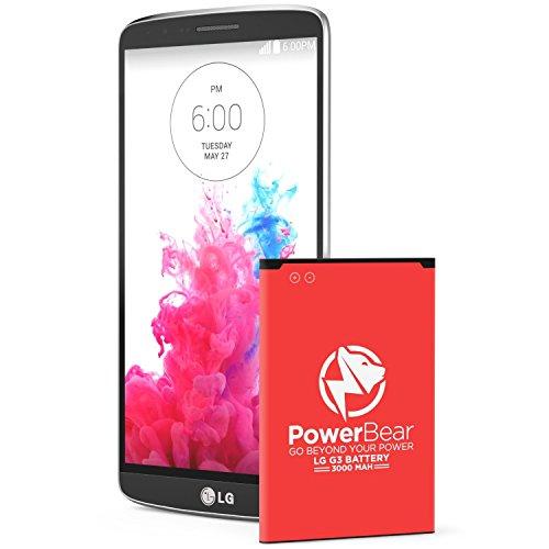 PowerBear Compatible pour LG G3 Batterie | Batterie de 3000mah Li-ION pour LG G3 [D855] | Batterie de Remplacement G3 [24 Mois Garantie]