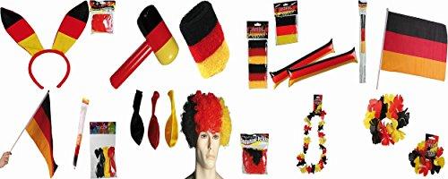 (Fussball Fan-Paket XXL 1x Perücke,1x Bunny Haareif 1x Deutschland Flagge 60x90cm 1x Deutschland Flagge 30x46cm 1x Hammer 1x Klatschstange (Paar) 1x Armreif (Paar) 1x Aloha Kranz 1x Schweissband (Paar) 1x Luftballoons (30 Stueck))