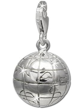 SilberDream Charm Weltkugel 925 Sterling Silber Charms Anhänger für Armband Kette Ohrring FC724I
