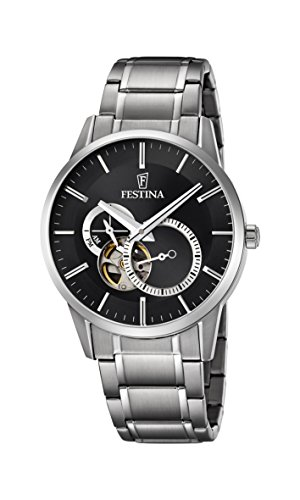 Festina Men's Automatic Watch with Black Dial Analogue Display and Silver Stainless Steel Bracelet F6845/4