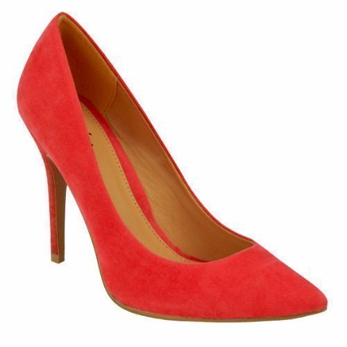 WOMENS LADIES LOW MID HIGH HEEL POINTED TOE PUMPS SMART OFFICE WORK COURT SHOES SIZE (UK 8 / EU 41 / US 10, Red Suede)