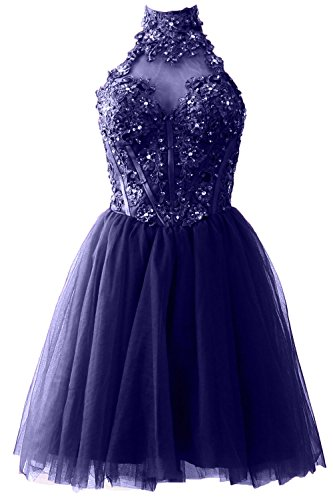MACloth Women's High Neck Short Lace Homecoming Prom Dress Formal Party Gown Dunkelmarine