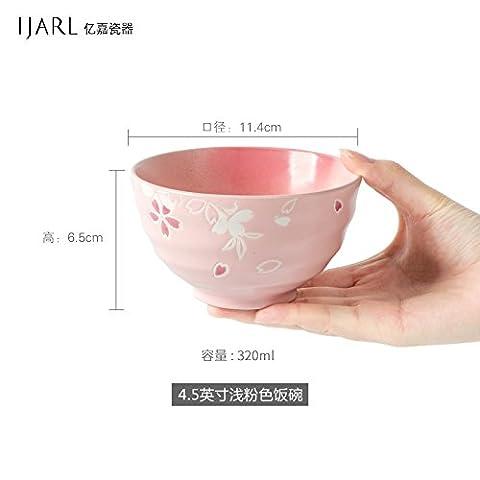 FAN4ZAME Le Bol En Céramique De Japanese Cherry Bowl Bol Bol Bol Dessert Riz Vapeur Vaisselle Ménage Ménage,Bol Rose 4,5 Pouces
