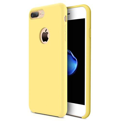 RANVOO [RAINBOW] iPhone 7 Plus Hülle, Extrem Hochwertigem Silikon Gehäuse + Microfaser Innenmantel Anti-Fingerabdruck Anti-Kratzer Case, Schwarz Gelb