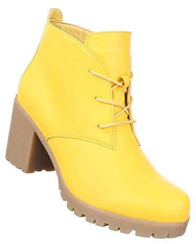 Damen Stiefeletten Schuhe Schnürer Boots Weiß Gelb 36 37 38 39 40 41 Gelb