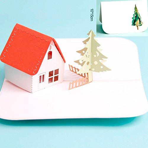 uniqueplus Sweet Home Creative 3D Pop up Grußkarte Kirigami Geschenk Karten für Jahrestag, Hochzeit, Geburtstag, Paar, Weihnachten, Muttertag, Vatertag, Thank You, New Haus Erwärmung Karte (Karten Haus)