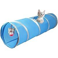 Cosy Life® Túnel para gatos con con juegos integrados 86 x 25 cm / Color: Azul / blanco