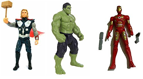 X Zini Combo of 3 Avengers Action Figure Toy for Kids. (Iron Man, Hulk, Thor ) 19 cm with Weapons Twist and Move Avengers with LED Light fuction.