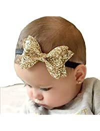Ziory Golden Baby Girl Baby Boy Unisex Newborn Bow Knot Hair band Elastic Bow Headband Kids Hair Accessories Headwear