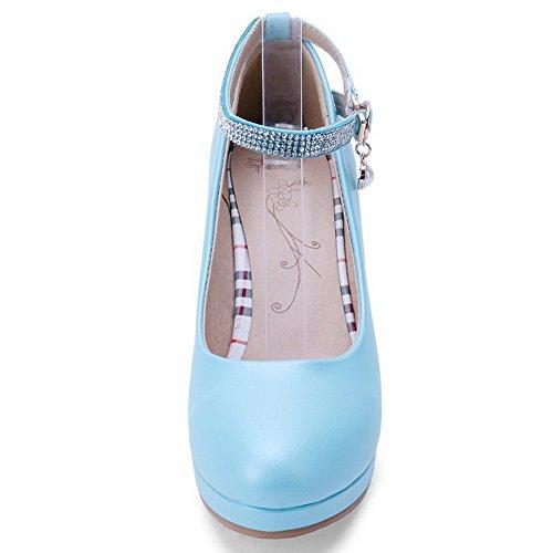 VogueZone009 Femme Boucle Pu Cuir Rond à Talon Haut Couleur Unie Chaussures Légeres Bleu