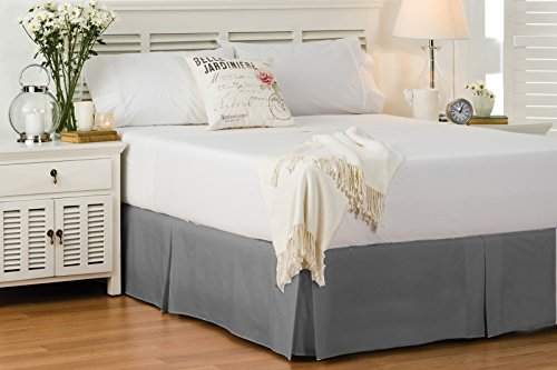 Textileonline 200 TC Base Valance 100% Egyptian Cotton Percale Box Pleated (Double, Grey)