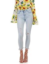 La Modeuse Jeans slim à 5 poches légèrement délavé et destroy