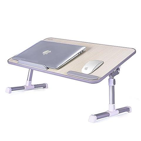 MAPUX Multifunktionstisch Tragbar Höhenverstellbar und Winkelverstellbar Laptoptisch Laptopständer Betttisch NoteBooktisch
