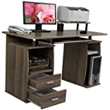 (LIFE CARVER) PC Table Computer desk with drawers for Home Office Furniture Study Workstation Table Laptop Table Desk Desktop Table Walnut Coffee