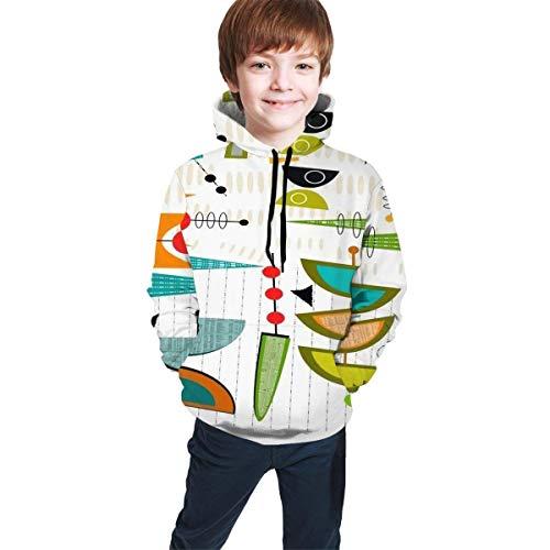 NGZXPMYY Lustiges geometrisches Weltmit Kapuze Sweatshirt für Jungen-Mädchen-Teenagerjunior, athletische zufällige Sportkleidung