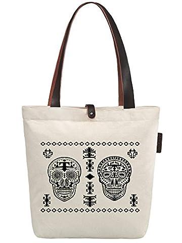 So'each Women's Skull Geometric Graphic Canvas Handbag Tote Shoulder Bag
