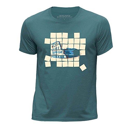 STUFF4 Jungen/Alter 12-14 (152-164cm)/Ozean Grün/Rundhals T-Shirt/Alt Mosaik/Colosseum