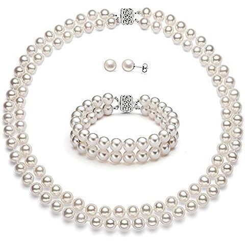 Premium Pearl, Inc - Set di altissima qualità con perle bianche coltivate d'acqua dolce, doppio filo, oro 14