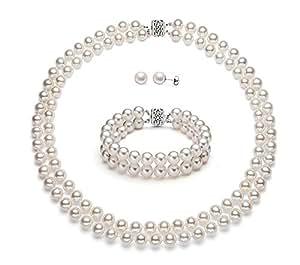 Premium Pearl, Inc - Set di altissima qualità con perle bianche coltivate d'acqua dolce, doppio filo, oro 14 ct, Oro bianco, colore: Argento / Bianco, cod. N-1967-FW-WG-AAA-50