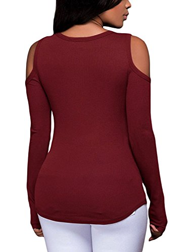 MODETREND Damen Herbst Winter Tief V Sweatshirts Bandage Lange Ärmel Trägerlos Pullover Oberteile Sweater Tops Blusen Rot