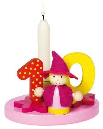 holzzwerge Goki Geburtstagskranz mit Zahlen 1-9+0 mit 10 Kerzen für Mädchen (rosa)
