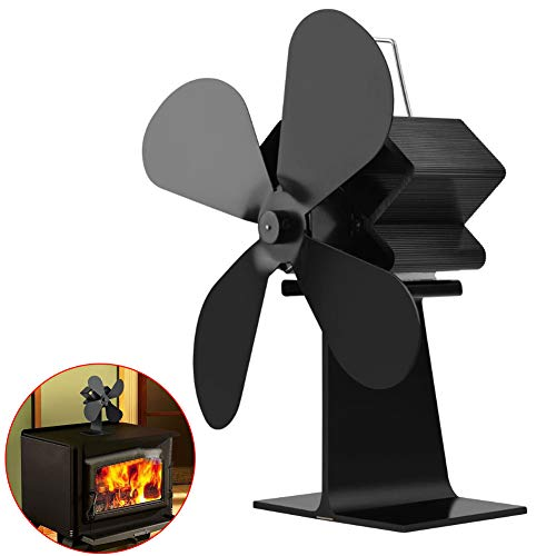 Dyda6 Ofenventilator mit 4 Klingen, geräuschloser Betrieb, wärmebetriebener Holz/Holz-Lüfter, umweltfreundliche Wärmezirkulation für Kamine, Schwarz, Free Size