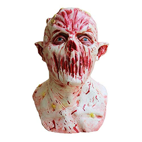 Flüssig Zombie Kostüm Latex - Happyyami Halloween Zombie Latex Maske lipless Teufel kostüm Prop für Maskerade Make-up Party