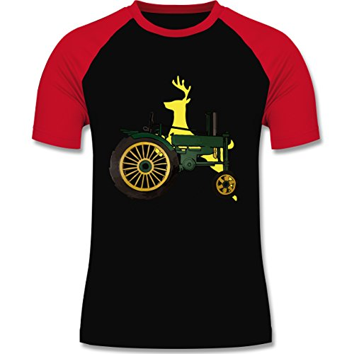Landwirt - Traktor Hirsch Deere - zweifarbiges Baseballshirt für Männer Schwarz/Rot