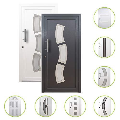 HORI® Haustür Nizza I Kunststoff Haustüre Eingangstüren Aussentür mit Glaseinsatz I Farbe Anthrazit I Größe 1980 x 980 mm