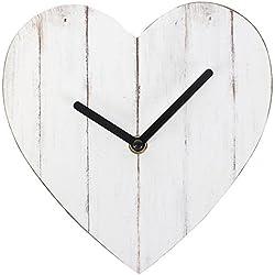 Something Different Shabby Chic Blanco con Forma de corazón MDF Reloj