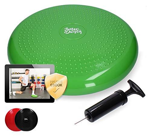 Jung & Durstig Original Balance Pad | Gleichgewichtskissen inkl Luftpumpe | Balancekissen | Sitzkissen zur Stabilisierung des Körpers | Luftkissen für Büro Fitness und Yoga