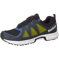 Reebok Men's Get Set Run Blk, Rbk Royal, Gravel and Grn Running Shoes - 8 UK/India (42 EU) (9 US)