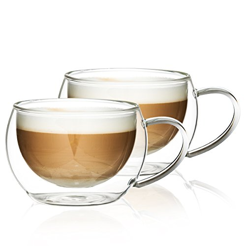 4Home Hot&Cool Cappuccino Thermo Glasses 280 ml, Glas, Transparent, 13 x 13 x 7 cm, 2-Einheiten