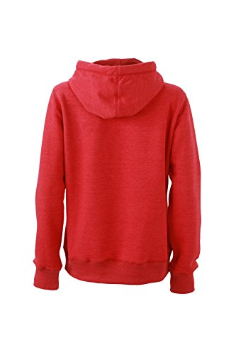 James & Nicholson Veste à capuche Sweat-shirt de sport Camin-Red-Melange