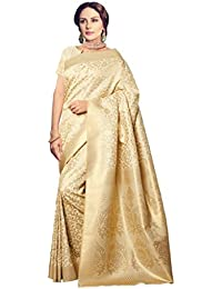 AppleCreation Silk Saree With Blouse Piece (_Beige_Free Size)