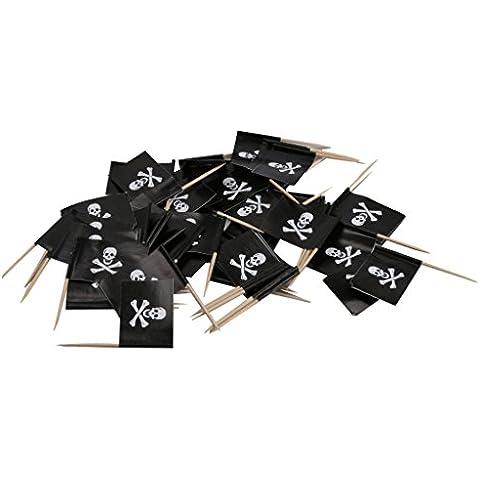 Banderas Cráneo Y De Crossbone 50x Palillo De Dientes De Recogida De Papel De La Magdalena De Alimentos Decoración De